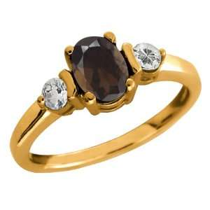 1.03 Ct Oval Brown Smoky Quartz and White Topaz 10k Yellow