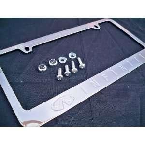 Infiniti Logo Chrome Metal License Plate Frame with Screw Caps