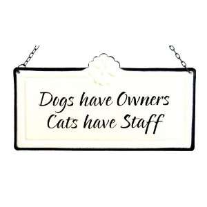 America Retold White Enamel Sign, Dogs Have Owners, 5 x 9