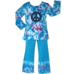 Ann Loren Girls Tie dye Peace Sign Shirt and Pants Set