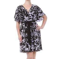 Tabeez Womens Plus Size Black/White Brushstroke Kimono Dress