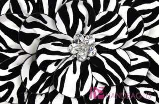 Green Rhinestone Zebra Flower Clutch Bag Purse Handbag