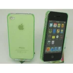Apple iPhone 4 4S Clear Light Green Hard Plastic Back Case Cover