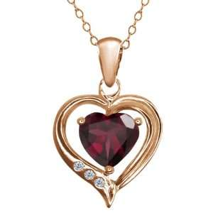 0.74 Ct Heart Shape Red Rhodolite Garnet and Diamond Gold