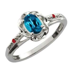 0.57 Ct Oval London Blue Topaz Red Rhodolite Garnet 18K
