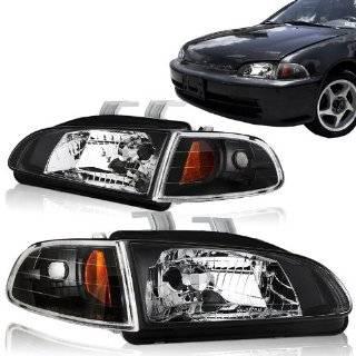92 95 Honda Civic EG Black Housing Headlights And Clear Black Corner