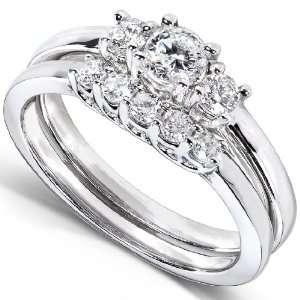 1/2 Carat TW Three Stone Round Diamond Wedding Ring Set in