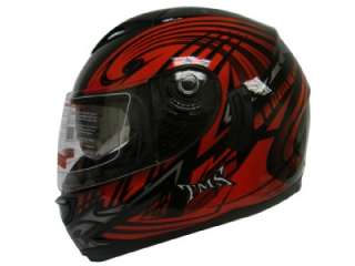 RED TRIBAL DUAL VISOR FULL FACE MOTORCYCLE HELMET DOT L