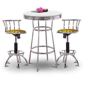 Chrome Bar Table & 2 Chrome Adjustable 24 29 Tiger Faux