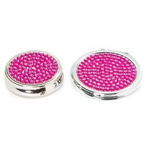 2 X Hot Pink Crystal Set  Round Pill Box & Cosmetic