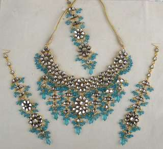 4PC INDIAN GOLD PLATED KUNDAN BRIDAL JEWELRY NECKLACE EARRING TIKKA