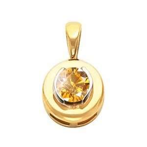 White Gold Pendant with Orange Yellow Diamond 1/2 carat Brilliant cut