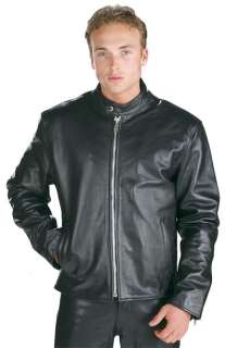 Mens Black High Grade Motorcycle Racer Leather Jacket 3XL