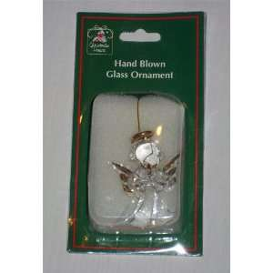 Christmas House Hand Blown Glass Angel Ornament
