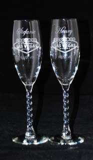 Personalized Las Vegas Wedding Champagne Flutes Glass