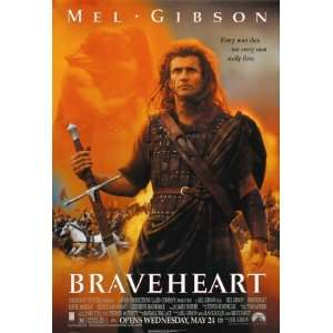 BRAVEHEART Movie Poster Mel Gibson (size 27x39) Home