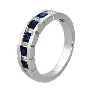 1.03 ct Sapphire & Diamond Wedding Ring 18k White Gold Jewelry