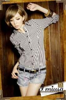 Women Blue White Stripe Long Sleeve Shirt Blouse Y423