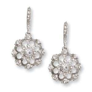 Silver tone Crystal Drop Leverback Earrings/Mixed Metal Jewelry