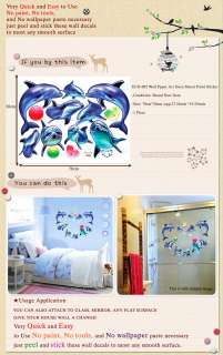 ECO 002 DOLPHINS KIDS DECO STICKER WALL PAPER DECALS