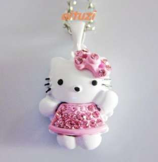 hello kitty crystal pendant necklace pink BOW SKIRT f16
