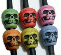 100 Multicolor Skull Pony Beads Goth jewelry Halloween