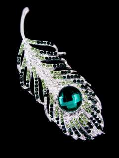 GREEN FEATHER BROOCH PIN MADE W SWAROVSKI CRYSTAL NEW