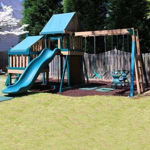 Kidwise Green Monkey Play Set II Wood Swing Set Outdoor Play