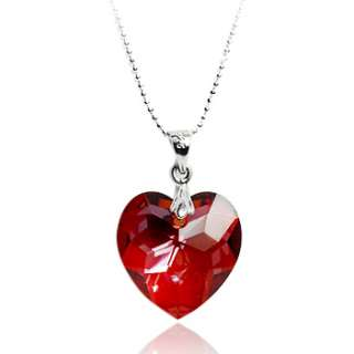 Siam Red Love Heart Silver Necklace Pendant made with Swarovski