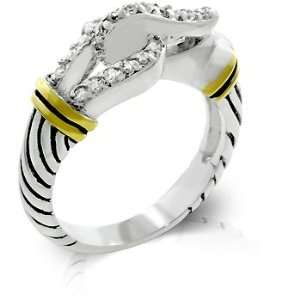Two Tone Designer Inspired Belt Buckle Style Ring with Enamel Finish