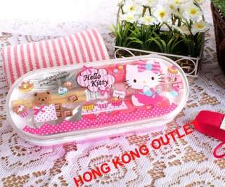 Hello Kitty Bento Lunch Box Case + Chopsticks Spoon Fork Set M48b