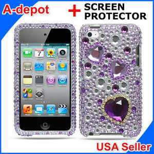 Ipod Touch 4G 4th Gen Purple Heart Bling Case Cover+LCD