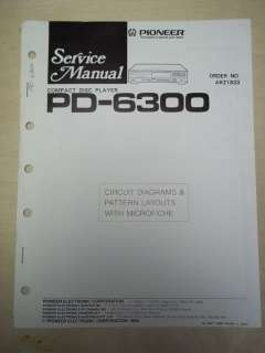 Pioneer Service Manual~PD 6300 CD Player~Original~Repair