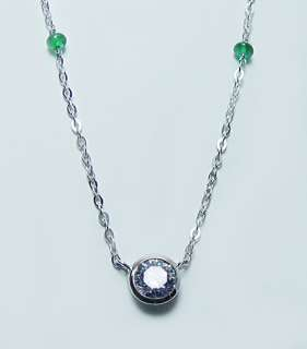 18K White Gold .55ct Diamond Emerald Necklace Estate Jewelry