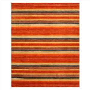 Hand Loom Knotted Wool Red Angora Contemporary Rug Size