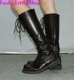 Punk Rock Emo Gothic Black knee high boots EUR 34   44