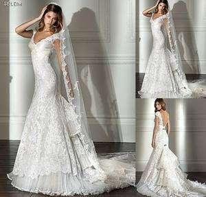White Lace Bride Prefect Wedding dress gown Custom *