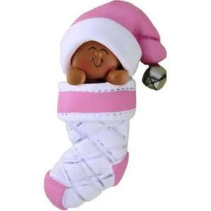 African American Baby In Christmas Stocking Pink