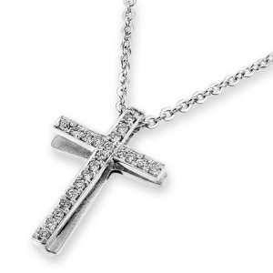 18K White Gold 3D Cross Pave Set Diamond Accent Pendant W/925 Sterling