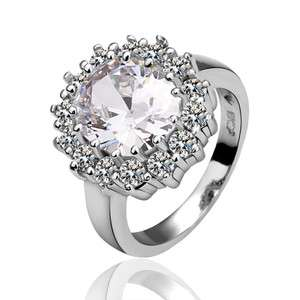 R60 18K white Gold plated white gem Swarovski crystal Ring size 8