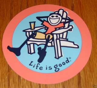 Life is Good Sticker/Decal Jake in Adirondack Chair