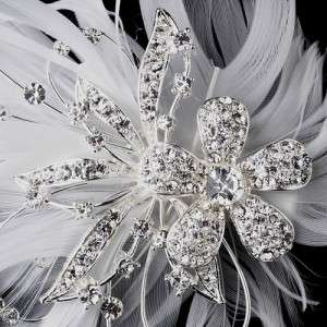 Silver White Rhinestone Crystal Wedding Bridal Hair Clip New