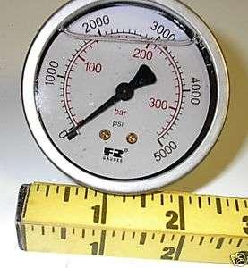 pressure gauge 5000 PSI liquid filled F & R Watts Industrial quality