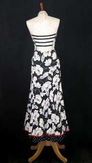NWT Jessica McClintock Tropical Black White Mermaid Dress Gown Size 10