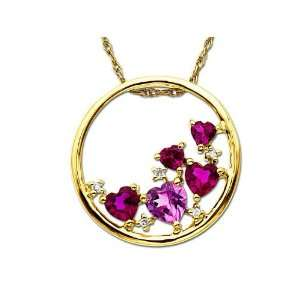 Ruby& Pink Sapphire Heart Pendant in 10K Gold Jewelry