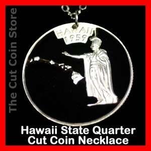 Hawaii 25¢ HI Quarter Cut Coin Pendant Necklace Hawaiian Island State