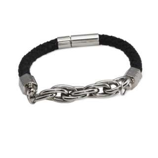 or Brown Braided Leather Bracelet w/ Stainless Steel Chain & Clasp
