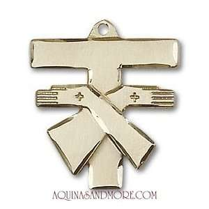 Gold Filled Franciscan Tau Cross Pendant: Jewelry