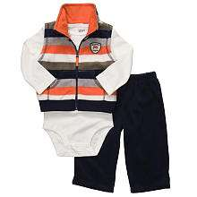 Carters Boys 3 Piece Fleece Vest Set   Orange/Navy (12 months