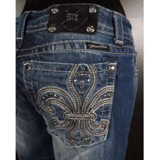 NWT MISS ME JEANS Straight Leg Leather Fleur De Lis with Crystals